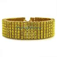 Exclusive All Canary Iced Out 6 Row Gold Bracelet