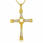 Fast n Furious Inspired CZ Cross Pendant Gold