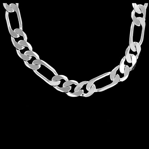 Figaro 9mm 20 Inch Silver Plated Hip Hop Chain Necklace
