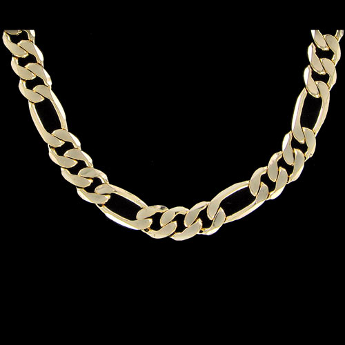 Figaro 9mm 30 Inch Gold Plated Hip Hop Chain Necklace
