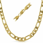 Figaro IP Gold Stainless Steel Chain Necklace  8MM