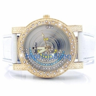 Floating Iced Out Dial 3 Colors Gold White Leather Watch