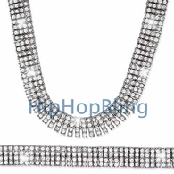 * FREE MATCHING BRACELET BONUS * 4 Row Silver Iced Out Chain 30 Inches * Premium*