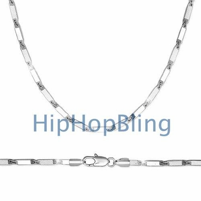 Frosted Boxy Hip Hop Chain Bullet Necklace 36 Inches