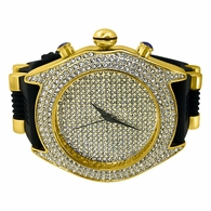 Full Bling Dial and Triple Bezel Icey Watch Rubber Band Gold