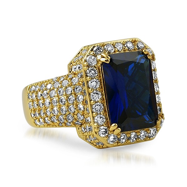 Fully Iced Out Lab Sapphire Hip Hop Gold Ring Gold Cz Iced Out Rings Mbr69bug