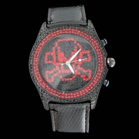 Fully Iced Out Red Skull Black Ice Gunmetal Black Leather Watch