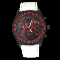 Fully Iced Out Red Skull Black Ice Gunmetal White Leather Watch