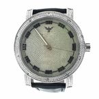 Genuine Diamond Techno King Black Leather Watch