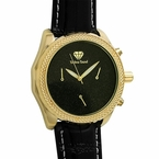 Gold .08cttw Diamond Watch Black Leather