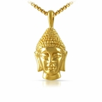 Gold 3D Buddha Head Pendant Stainless Steel