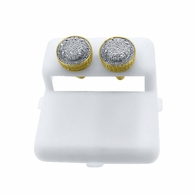 Gold 3D Domed Diamond .925 Earrings .28cttw