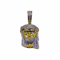 Gold .925 Silver Micro jesus Pendant CZ Iced Out