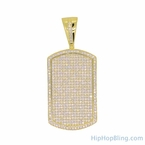 Gold .925 Silver Micro Pave Dog Tag