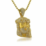 Gold .925 Silver Mini Bling Bling Jesus Piece