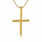 Gold .925 Sterling Silver Moon Cut Cross 4MM