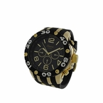 Gold and Black Rubber Sports Fashion Watch