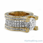Gold Baller Solitaire Eternity Iced Out Ring