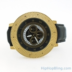 Gold Big Bezel Real Diamond Hip Hop Watch Super Techno