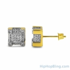 Gold Bling Bling Cube CZ Hip Hop Earrings