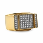 Gold Bling Bling Ring CZ Iced Out Pave Steel Ring