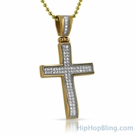 Gold Bling Bling Stainless Steel Mini CZ Cross Concave