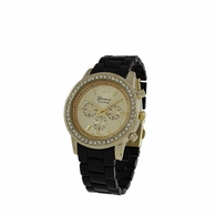 Gold Bling Womens Watch Black Band