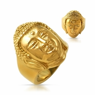 Gold Buddha Ring Stainless Steel