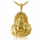 Gold Buddha Statue Pendant Stainless Steel