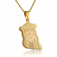 Gold Carved Look Jesus Piece Pendant Stainless Steel