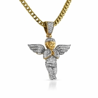Gold Cherub Angel Pendant Bling Bling CZ Micro Pave Set Steel