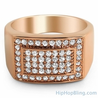 Gold Clean Box CZ Mens Micro Pave Bling Bling Ring
