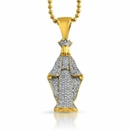 Gold Crowned Angel Micro Pave CZ Bling Pendant