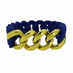 Gold Cuban Blue Rubber Bracelet