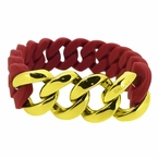 Gold Cuban Burgundy Rubber Bracelet