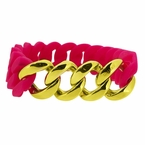 Gold Cuban Hot Pink Rubber Bracelet