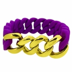 Gold Cuban Purple Rubber Bracelet