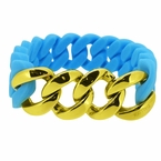 Gold Cuban Sky Blue Rubber Bracelet