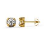 Gold CZ 6MM Stud Halo Bling Bling Earrings