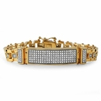 Gold Designer ID CZ Iced Out Bracelet Stainless Steel
