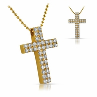 Gold Double CZ Diamond Cross 316L