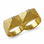 Gold Double Pyramid Stainless Steel Ring