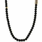 Gold Greek Link Black Beads Necklace