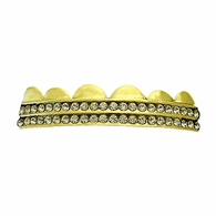 Gold Grillz Double Row Bling Top