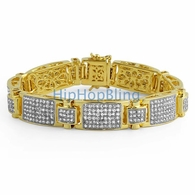 Gold Icey Block CZ Micro Pave Bling Bling Bracelet