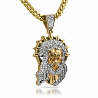 Gold Jesus Halo Custom Bling Pendant Steel