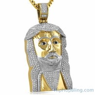 Gold Jesus Piece CZ Iced Out Pendant Stainless Steel