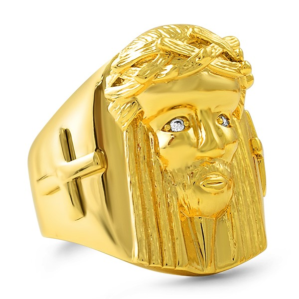 gold jesus ring with cross hip hop jewelry deals