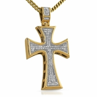 Gold Kite Bling Bling Cross Stainless Steel Pendant