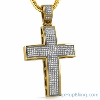 Gold Large 5 Row CZ Iced Out Stainless Steel Cross